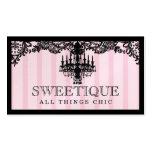 311 rayas rosadas de Sweetique y lámpara del cordó Plantilla De Tarjeta De Negocio