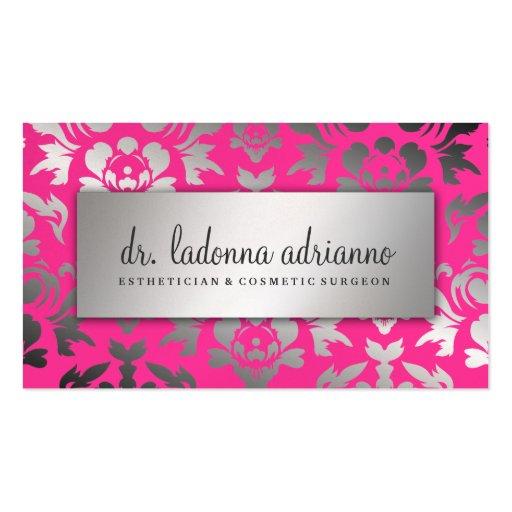 311 rosas fuertes de la plata del damasco de Ladon Tarjetas Personales