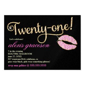 311 veinte un beso glamoroso metálico invitación 12,7 x 17,8 cm