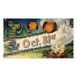 31 de octubre (tarjeta de Halloween del vintage) Tarjetas De Visita