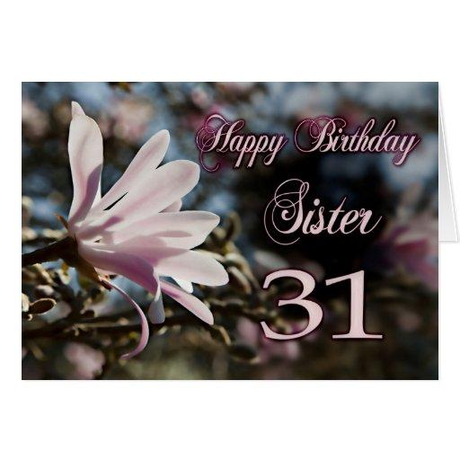 31ro cumpleaños de la hermana con la magnolia felicitacion