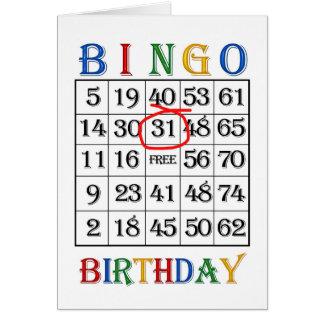 31ro Tarjeta del bingo del cumpleaños