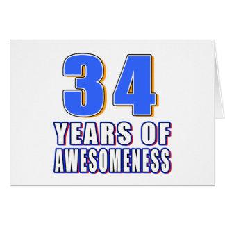 34 años de Awesomeness Tarjeta De Felicitación