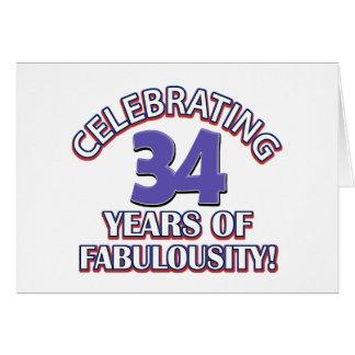 34 años de fabulousity tarjeta de felicitación