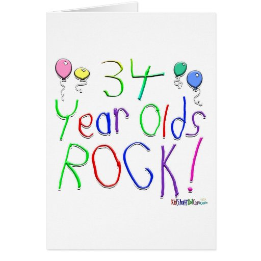 ¡34 años de la roca! Tarjeta de felicitación