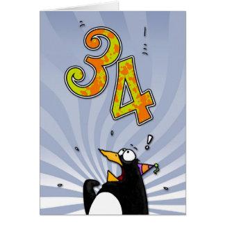 34to cumpleaños - tarjeta de la sorpresa del pingü