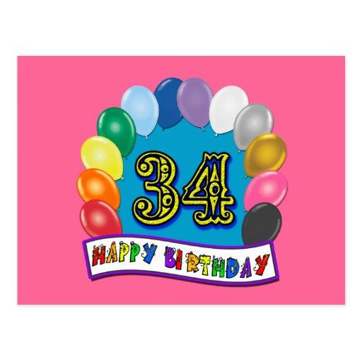 34to Diseño de los globos del cumpleaños Tarjeta Postal