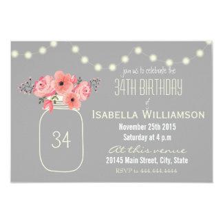 34to Flores de la acuarela del cumpleaños y tarro Invitación 8,9 X 12,7 Cm