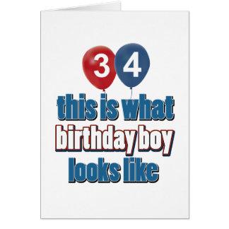 34tos diseños años del cumpleaños tarjeta de felicitación