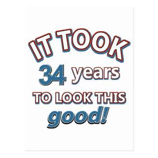 34tos diseños años del cumpleaños postal