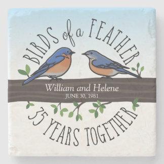 35to Aniversario de boda, Bluebirds de una pluma Posavasos De Piedra