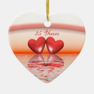 35to Corazones del coral del aniversario Adorno De Cerámica En Forma De Corazón