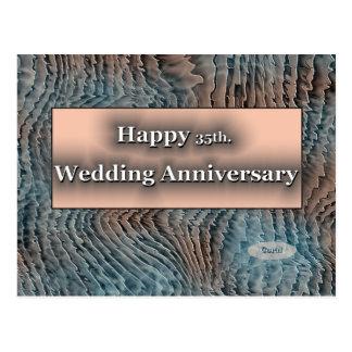 35to feliz. Aniversario de boda coralino Postal