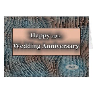 35to feliz. Aniversario de boda coralino Tarjeta De Felicitación