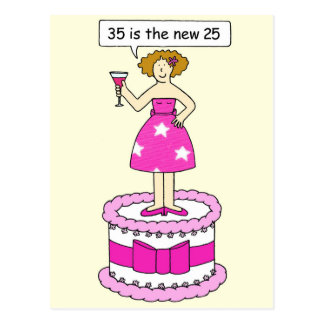 35to Humor del cumpleaños para ella, señora en una Postal