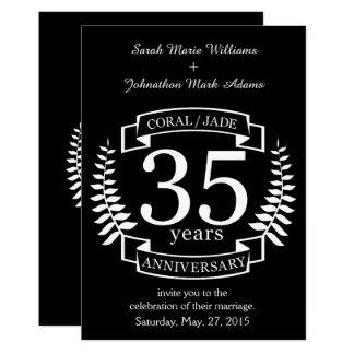 35to JADE/CORAL del ANIVERSARIO de boda Invitación 12,7 X 17,8 Cm