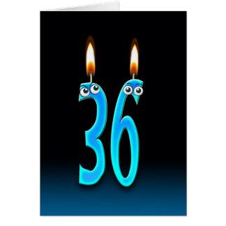 36.o Velas del cumpleaños Tarjeta De Felicitación