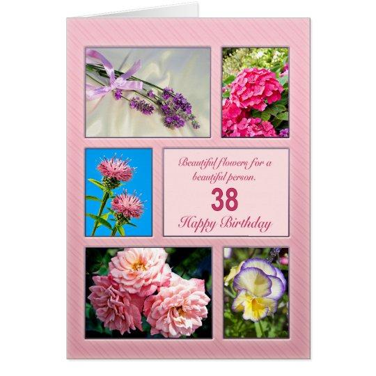 38.o cumpleaños, tarjeta hermosa de las flores