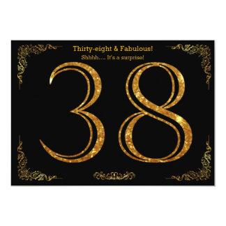 38.o Fiesta de cumpleaños, styl de Gatsby, brillo Invitación 12,7 X 17,8 Cm