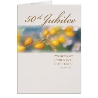 3994_50o Cruz del jubileo en oro Tarjeta De Felicitación