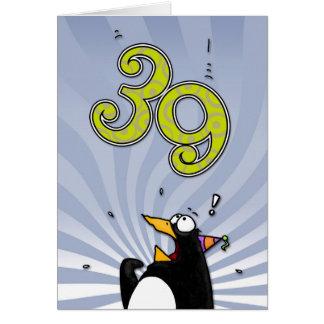39.o cumpleaños - tarjeta de la sorpresa del pingü