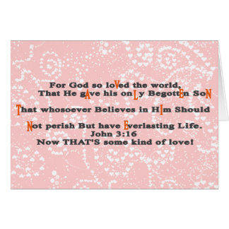 3:16 de Juan ahora que es una cierta clase de amor Tarjeta