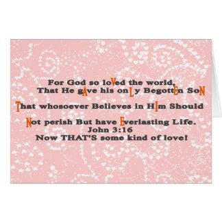 3:16 de Juan ahora que es una cierta clase de amor Tarjeta De Felicitación