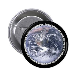 3:16 de Juan - botón del cristiano de la tierra