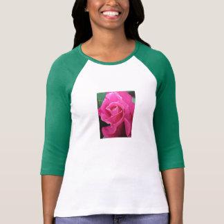3/4 manga color de rosa de la blusa con mangas/del camisetas