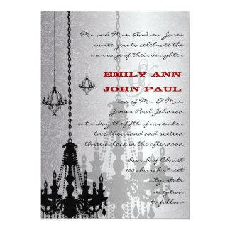 3 bodas rojos y negros de plata del damasco de las invitación 12,7 x 17,8 cm