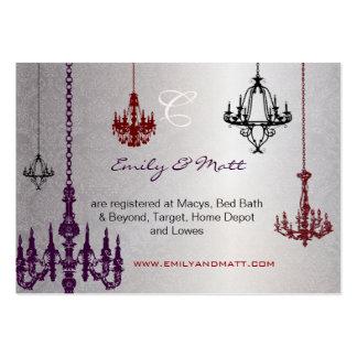 3 bodas rojos y negros de plata del damasco de las tarjeta personal