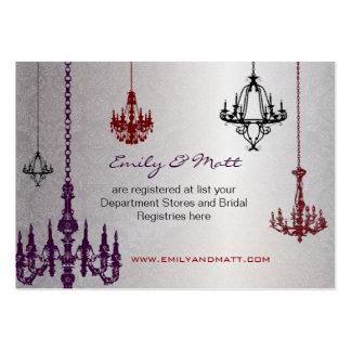 3 bodas rojos y negros de plata del damasco de las tarjetas de visita grandes