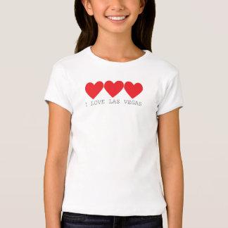 3 corazones en rojo con Las Vegas escrito debajo Camiseta