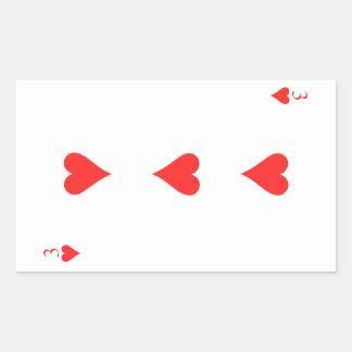 3 de corazones pegatina rectangular