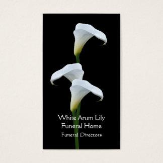 3 directores de funeraria blancos de los lirios de tarjeta de negocios