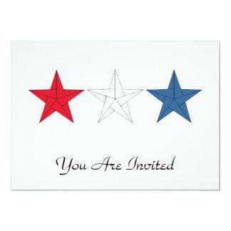 3 estrellas de Origami - rojas, blancas, y azul Invitación 12,7 X 17,8 Cm