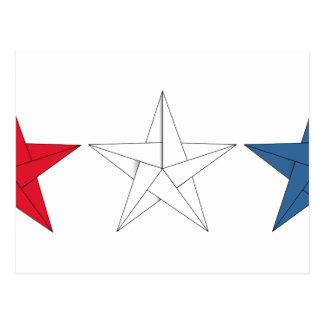 3 estrellas de Origami - rojas, blancas, y azul Postal