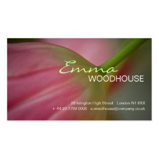 3 florales - Tarjeta de visita rosada del tulipán