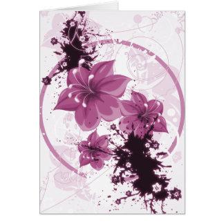 3 flores bonitas - rosa tarjeta de felicitación
