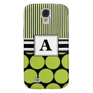 3 - Lunares verdes del monograma Carcasa Para Galaxy S4