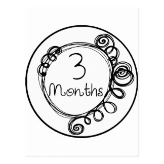 3 meses de jalón del Doodle Tarjeta Postal