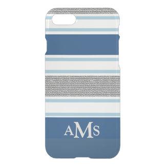 3 monogramas rayados azules de plata elegantes funda para iPhone 7
