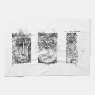 3 monos para la toalla de cocina del zodiaco del