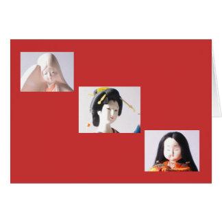 3 muñecas japonesas tarjeta pequeña