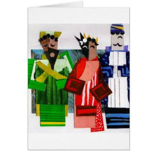 3 navidad del cubista de los hombres sabios tarjeta de felicitación