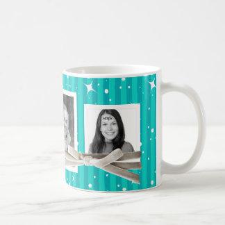 3 rayas de las fotos y azules turquesas lindas de taza de café