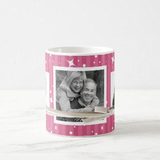 3 rayas lindas de las fotos y rosa de la frambuesa taza de café
