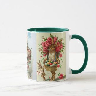3 rosas antiguos del conejito de pascua de la taza