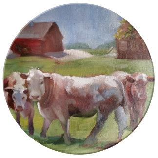 3 vacas en una placa de la porcelana del paisaje plato de porcelana