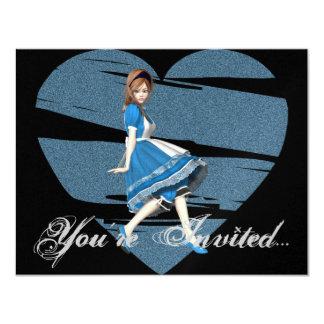 3D Alicia y corazón azul Invitación 10,8 X 13,9 Cm
